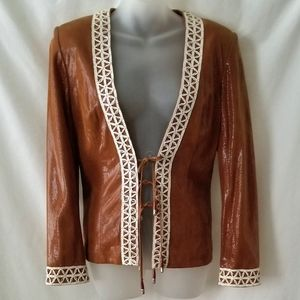 St. John Couture Leather Brown Jacket size 6 8